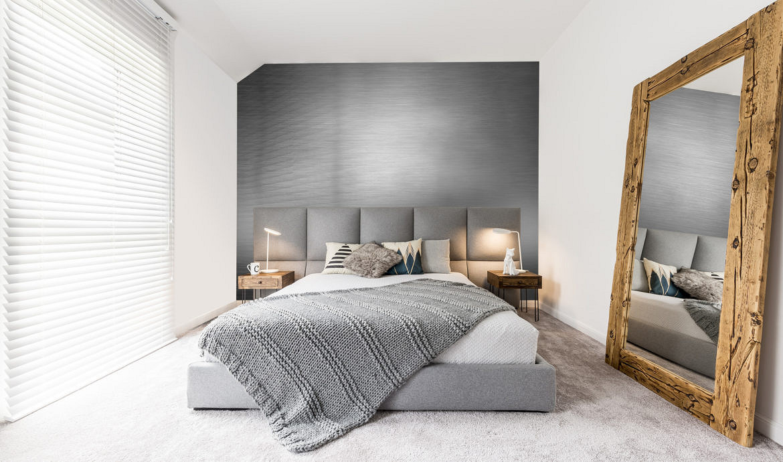 metal w sypialni